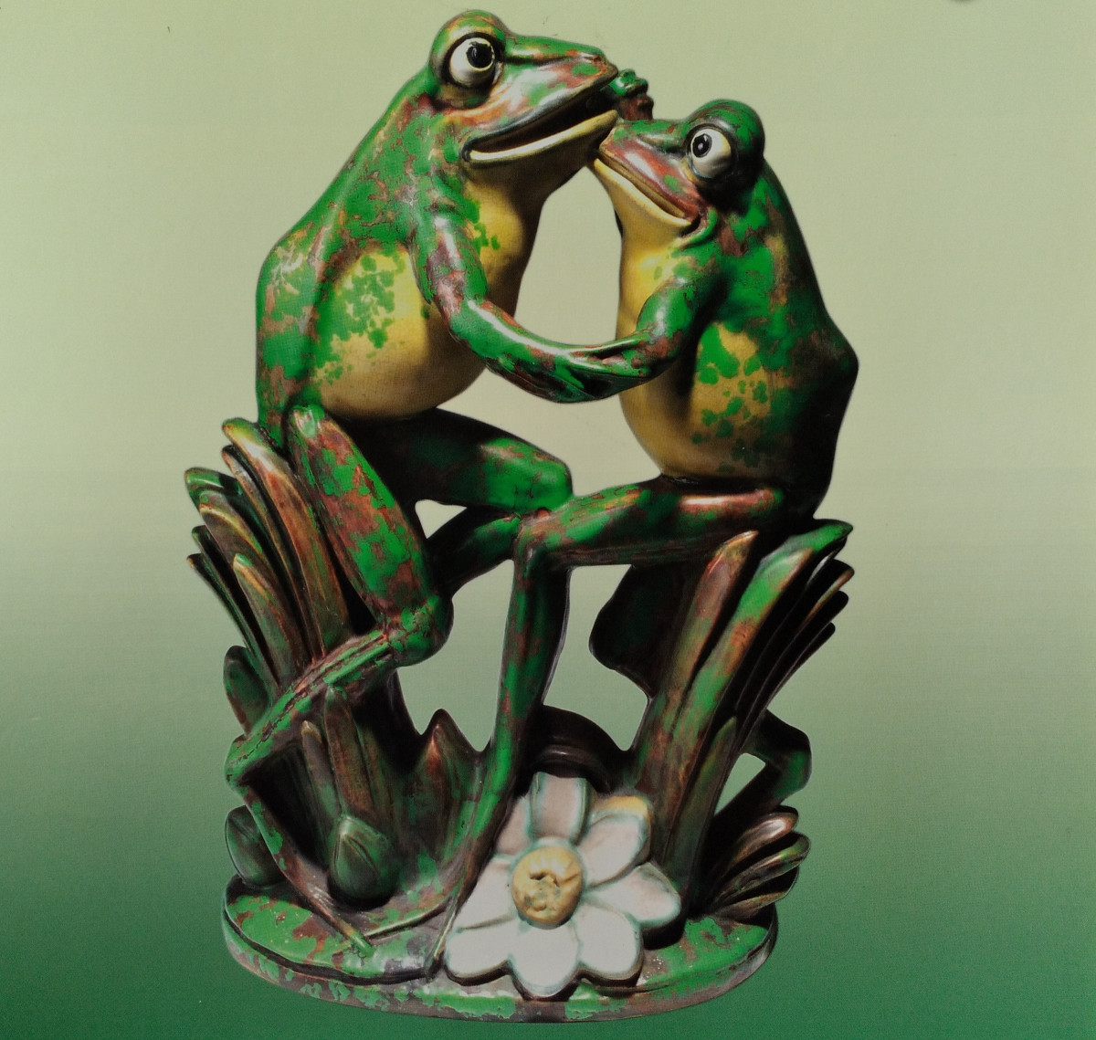 """This rare Weller Coppertone sculpture of dancing frogs, 1920s, 16-3/4"""" x 11-1/2"""" x 6"""", sold at auction in 2015 for $4,750."""