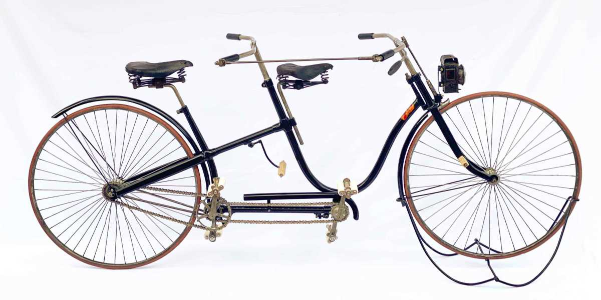 A rare 1889 Psycho Safety Tandem, Starley Brothers, St. John's Works, Coventry, England. Serial #14 of possibly 100 units manufactured, and believed to be one of maybe a dozen examples left in the world. Est: $16,000-$20,000.