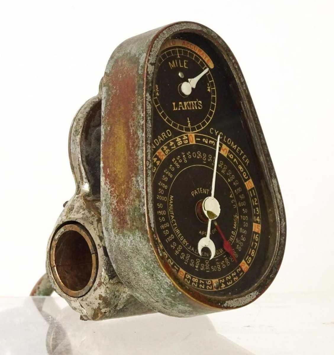 "Rare 54"" Lakin's High Wheel #986 Cyclometer, approx. 5-1/2"" l. Est: $2,000-$2,500."
