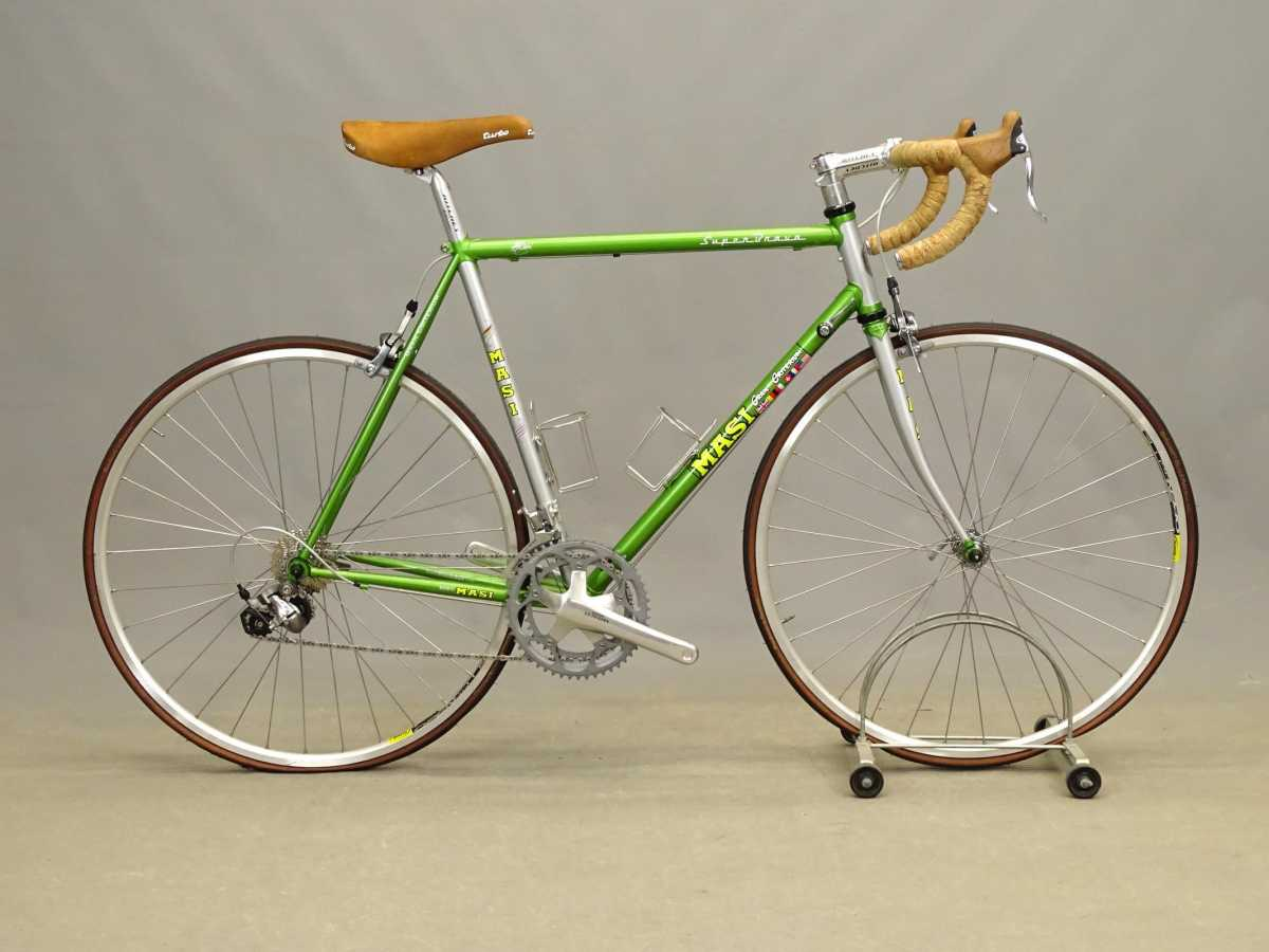 """Masi Gran Criterium 22"""" men's lightweight bicycle, Super Brava, turbo saddle, Ritchey handlebars and seat post, Shimano cranks, 20 speed. From the collection of Anthony LaPaglia. Est: $800-$1,000."""