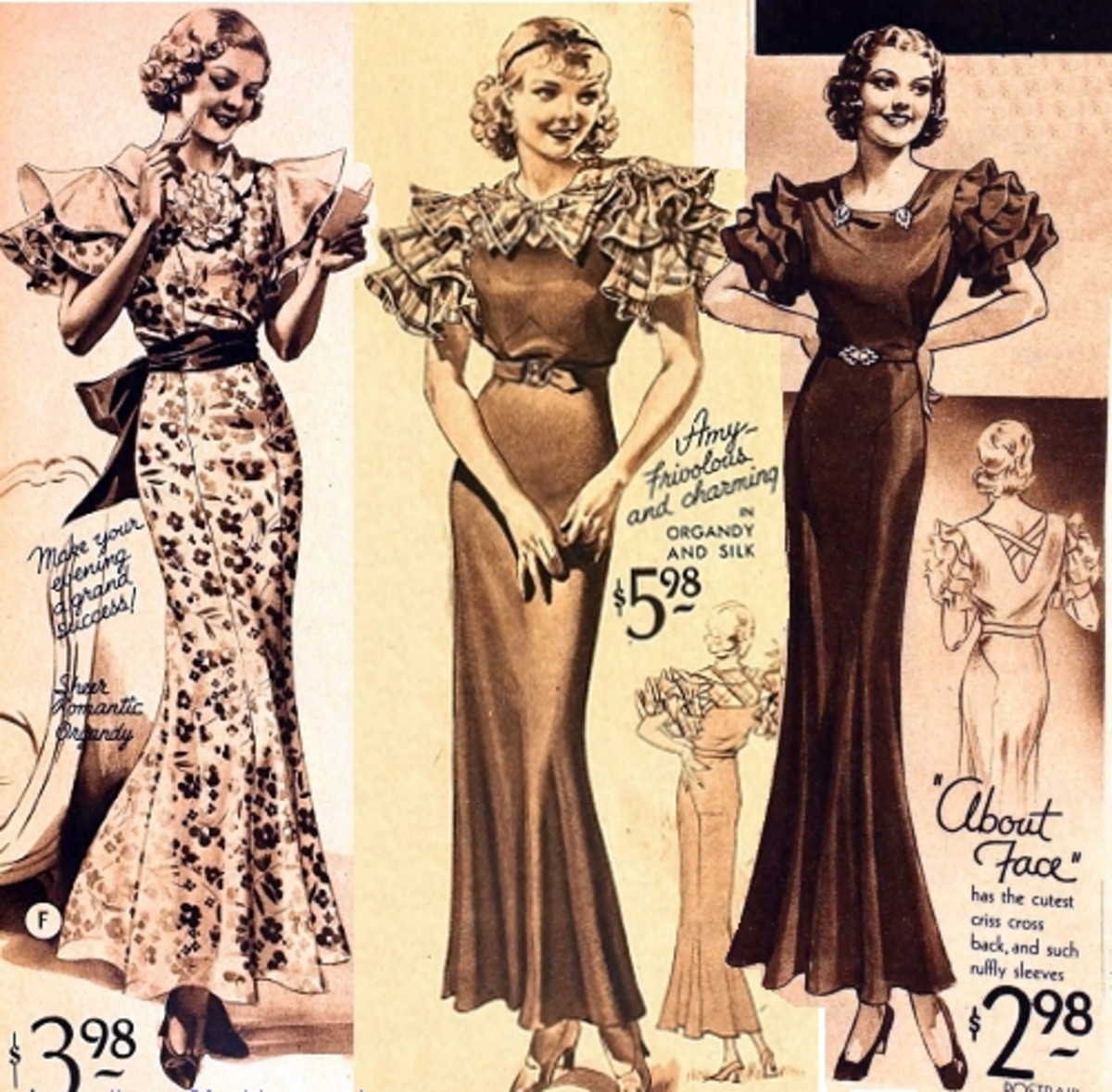 Three Letty Lynton-style dresses featured in a Sears catalog from 1933.