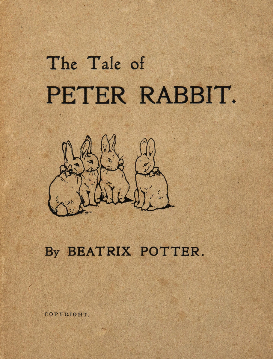 Beatrix Potter. The Tale of Peter Rabbit. [London: Strange-ways, privately printed for the author, December, 1901]. First edition, featuring colored frontispiece and 41 black-and-white illustrations by the author. This copy sold at auction in December for $52,500.