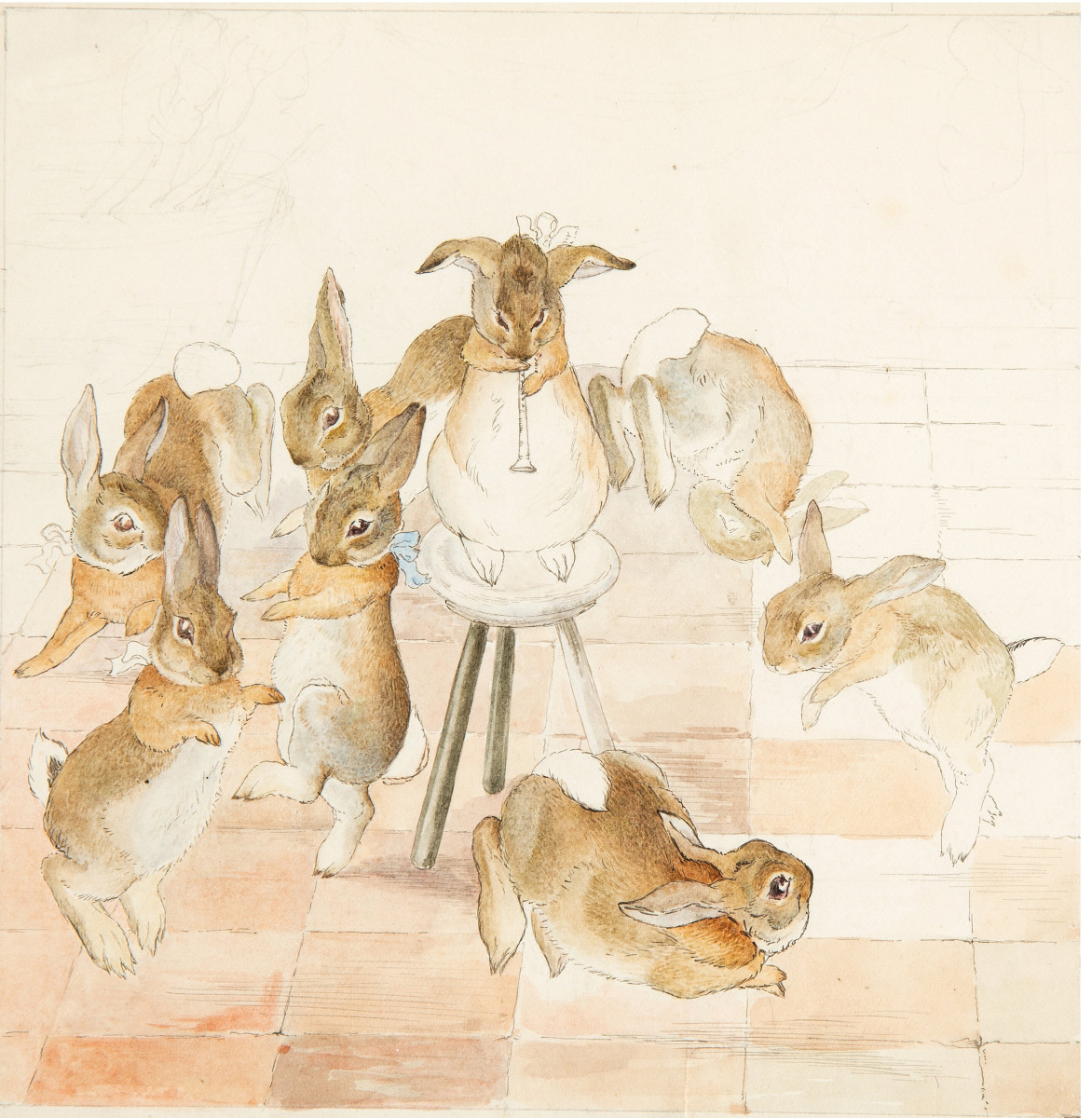 """Beatrix Potter original ink and watercolor drawing, """"Dancing to the Piper,"""" circa 1890s, depicting  seven frolicking bunnies dancing around a piping bunny seated on a stool. Although the background and some other details remain unfinished, this perfectly captures the characteristic charm inherent in all of Potter's illustrations;  6"""" x 6"""". This sold at auction in December for $62,500."""