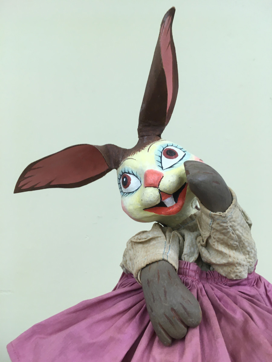 This Flopsy puppet was handmade by the Philadelphia Works Progress Administration in the 1930s to help teachers.