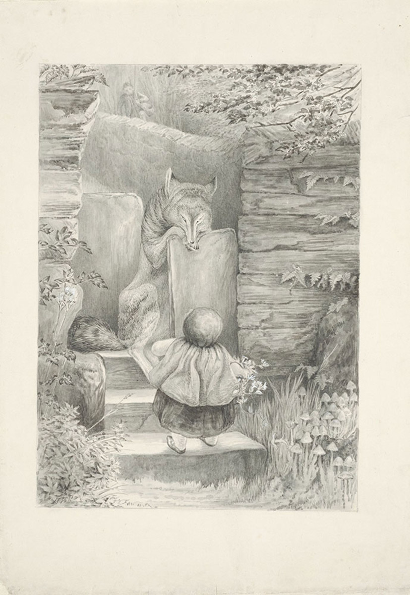 """Scene from """"Little Red Riding Hood,"""" graphite, pen and ink, and watercolor wash, 1900."""