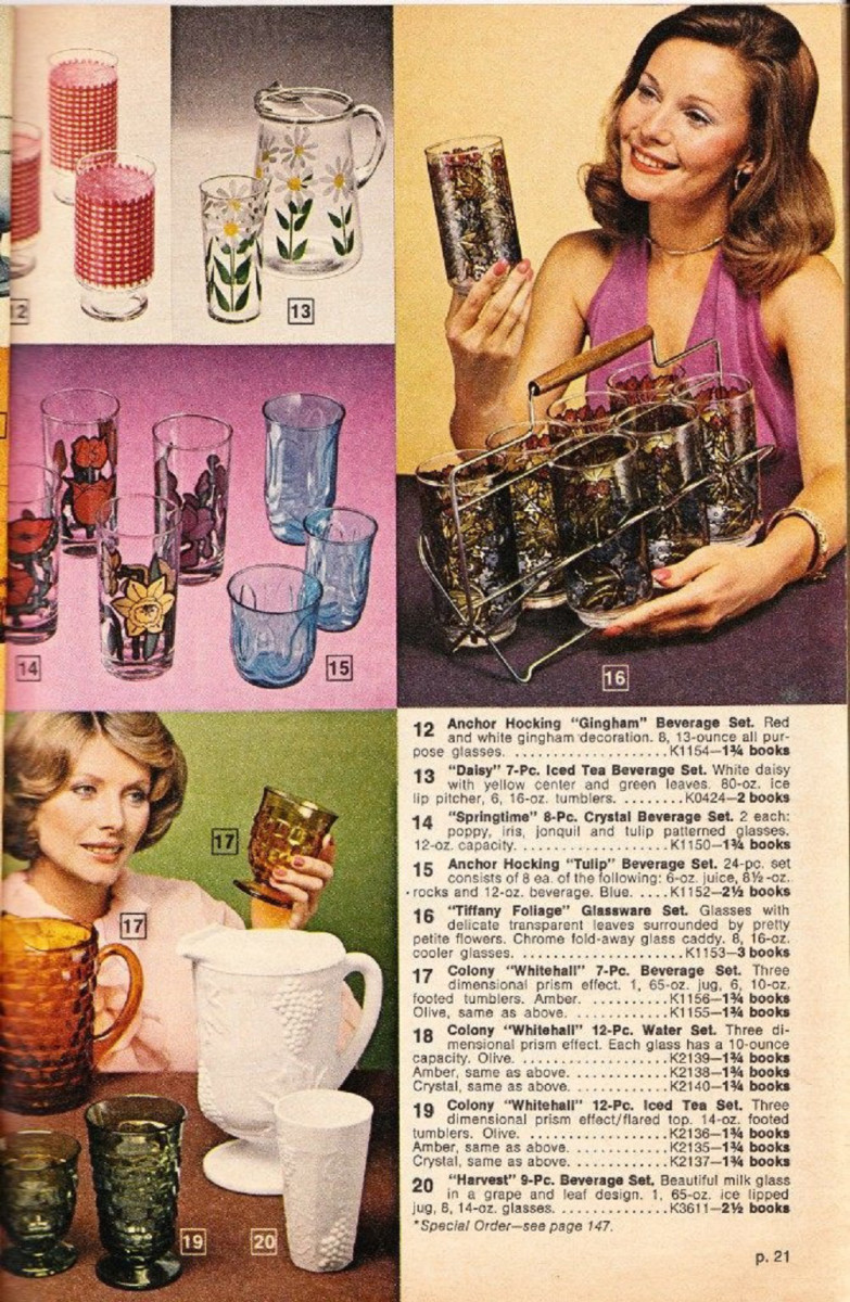 A page from a 1975 catalog offering different types of glassware.