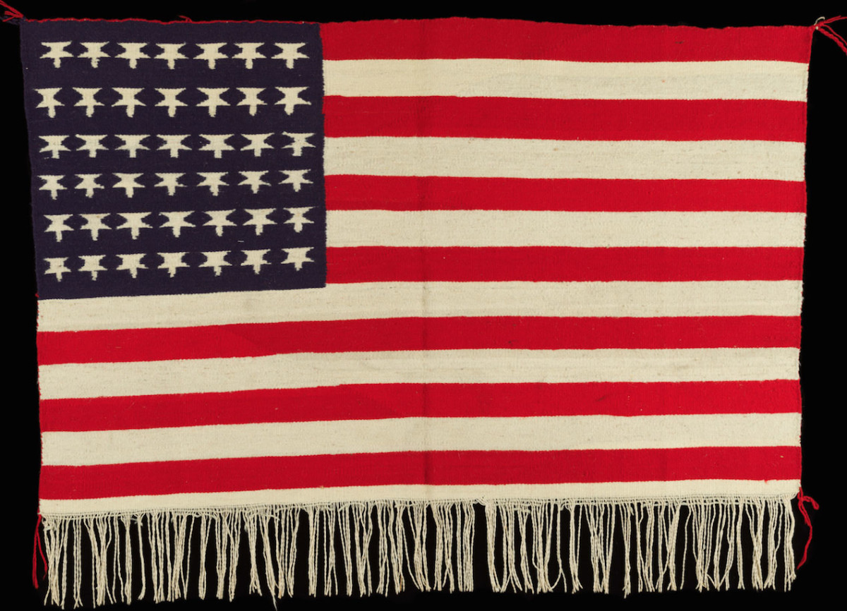 American Flag, 1900-1910, Germantown yarns, aniline dyes, and natural white wool.