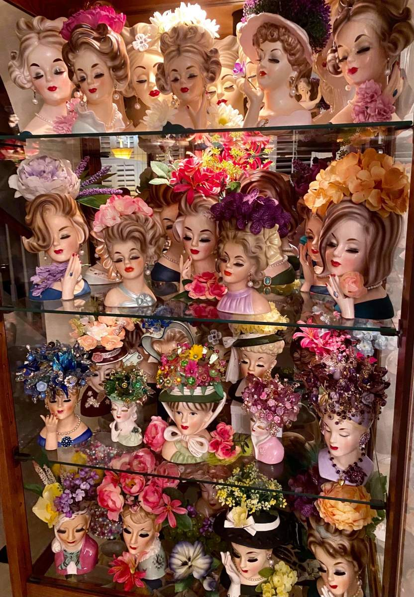 Some of the lady head vases in collector Wayne Geeslin's collection, showing all different styles.