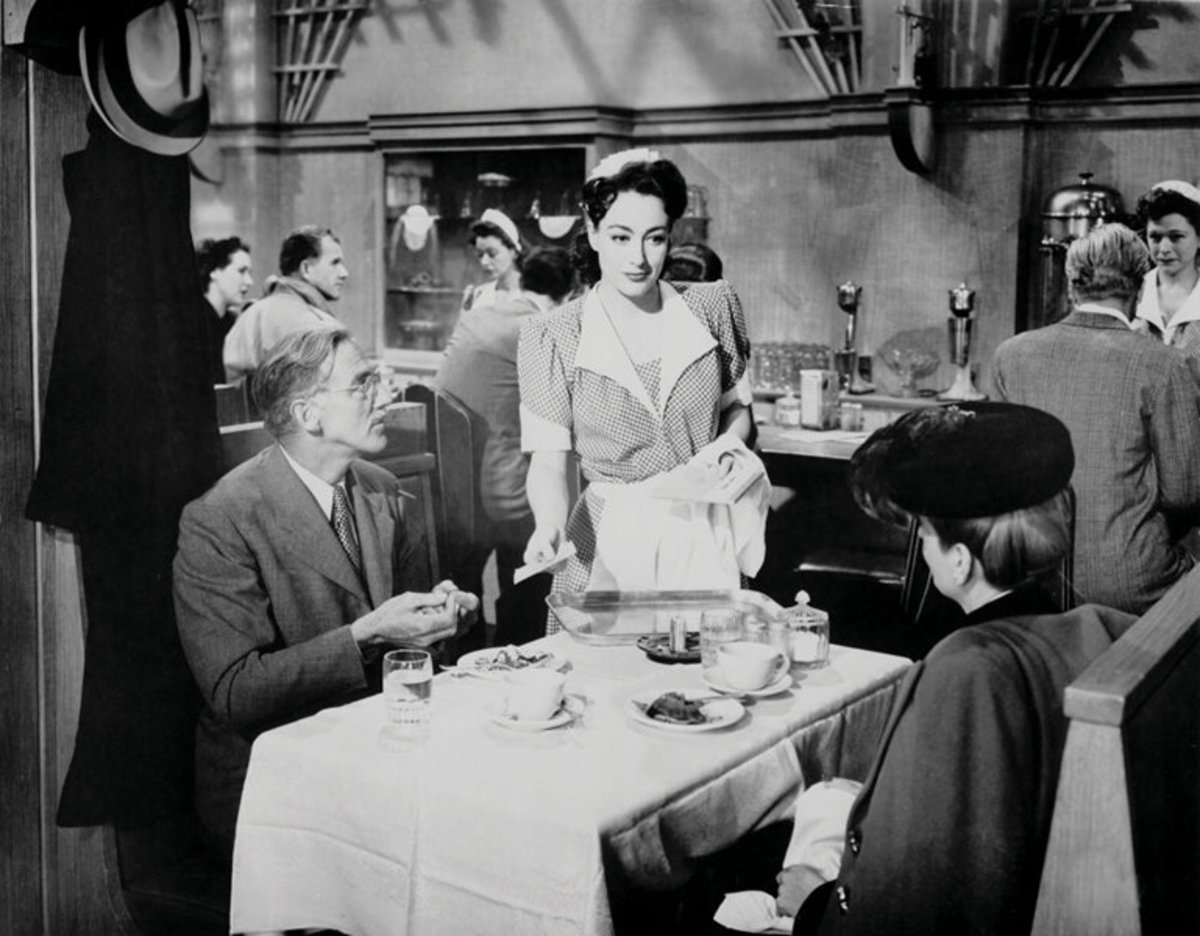 A still from the movie of Crawford wearing the costume.