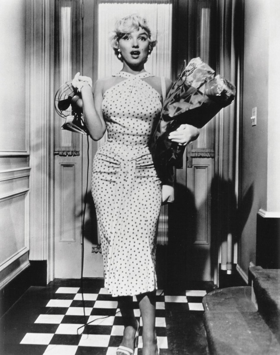 A movie still of Monroe in the dress.