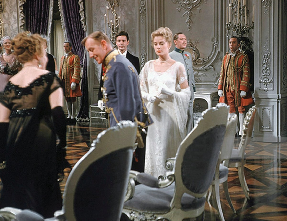A movie still of Kelly as Princess Alexandra wearing the gown at the Royal Ball.