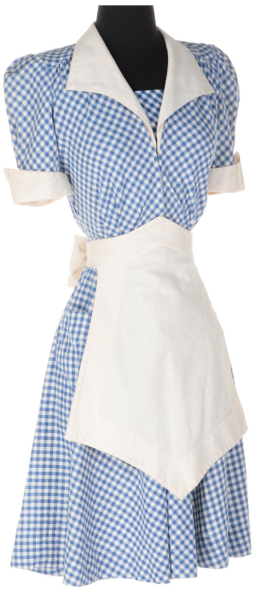 """Joan Crawford signature Mildred Pierce costume from the movie """"Mildred Pierce"""" (Warner Bros., 1945). Vintage original blue and white short-sleeve gingham dress with V-neckline, wide white linen pointed collar and cuffs, one hip pouch pocket, self-belt, darted bodice with unique bias-cut snap front closure and additional side zipper closure. Opening bid: $40,000."""