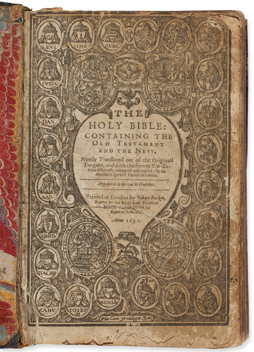 The title page of the Wicked Bible that sold at Sotheby's in 2018 for $56,250.