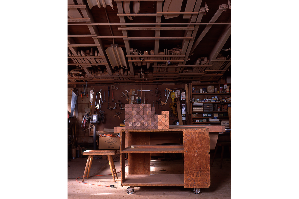 George Nakashima's main workshop was the first building on his campus, built in 1946 while the family lived in an old army tent just nearby. The shop is a modest concrete block building with its original framing composed primarily of local oak and cypress.