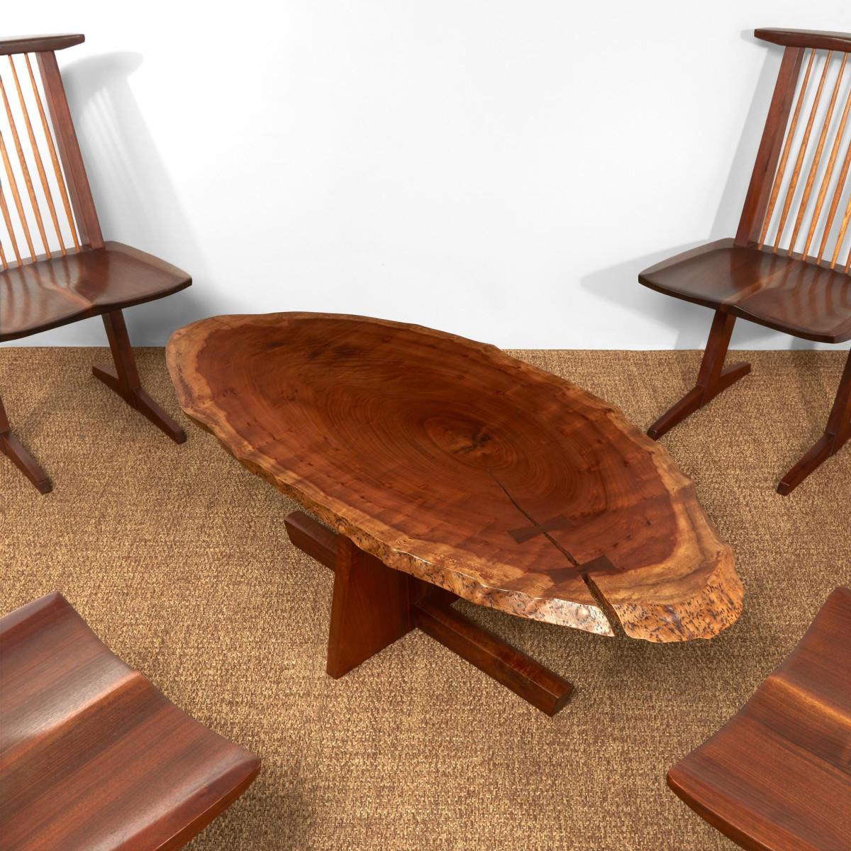 "George Nakashima special ""Minguren I"" coffee table, 1979, Oregon myrtle  and American black  walnut, 18"" h, 51"" w,  24-1/2"" d; $30,000."