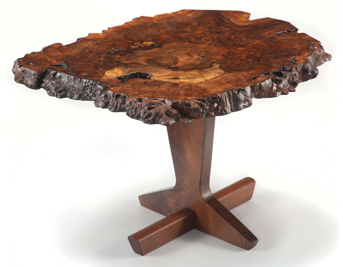 "George Nakashima rare Odakyu table, 1984, English Claro walnut and American black walnut, 20-7/8"" x 30"" x 30""; $57,500."