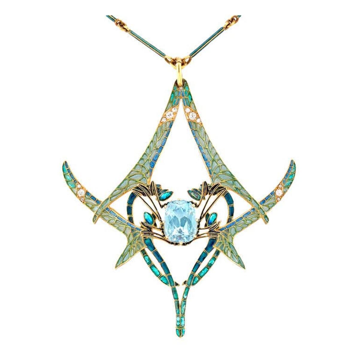 Lalique pendant featuring four dragonflies around an aquamarine stone, c. 1905; $275,152.