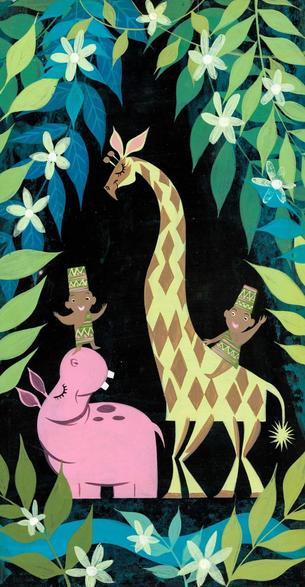 """Mary Blair's """"It's a Small World"""" Africa concept art."""