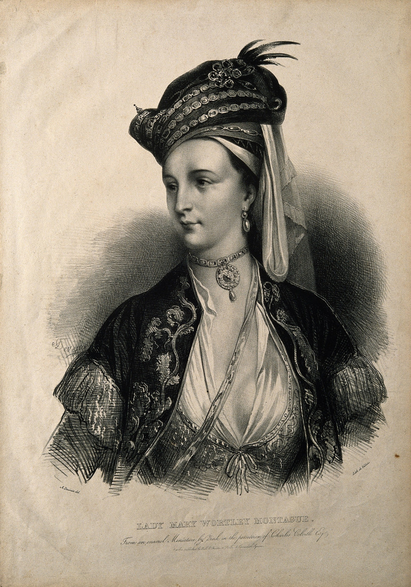 Lithograph of Lady Mary Wortley Montagu by A. Devéria.