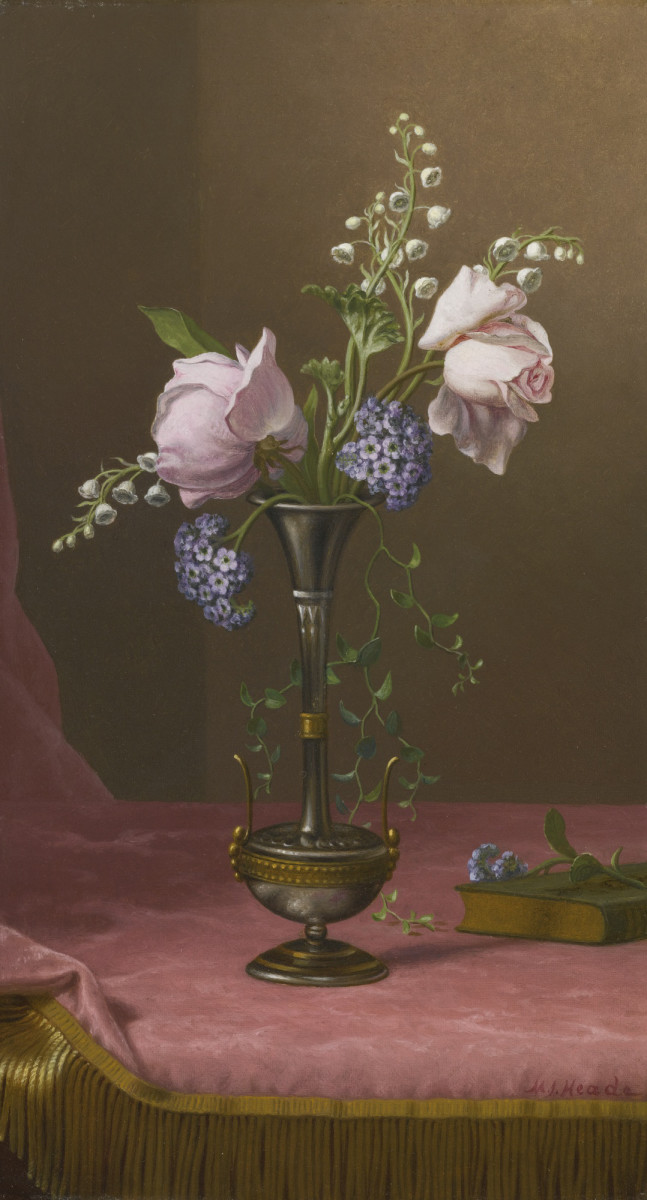 """""""Victorian Vase with Flowers of Devotion,"""" circa 1871-1880, by Martin Johnson Heade. Heade's still life is composed of a pair of pink tea roses, which were interpreted in the flower literature of the day as traditional symbols of beauty and gentleness. These voluptuous blossoms are accompanied by three sprigs of lily of the valley –– a flower linked with sweetness and the return of happiness. Some fragrant heliotrope (devotion, eternal love) and trailing jasmine (sweet love) foliage complete the bouquet. This sold at auction for $212,500."""
