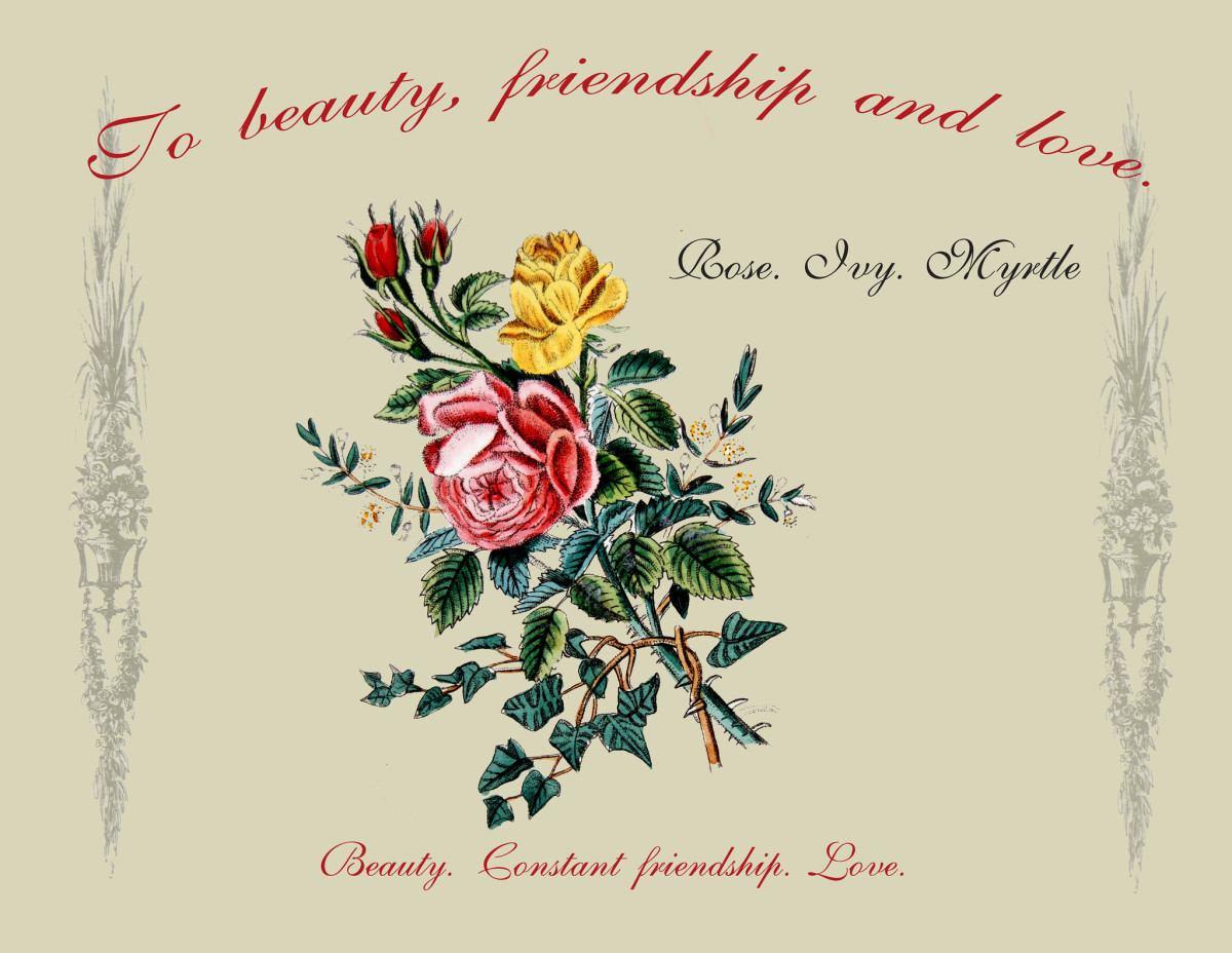 This bouquet of roses, ivy and myrtle holds a pleasant message. From The Language of Flowers, 1834.