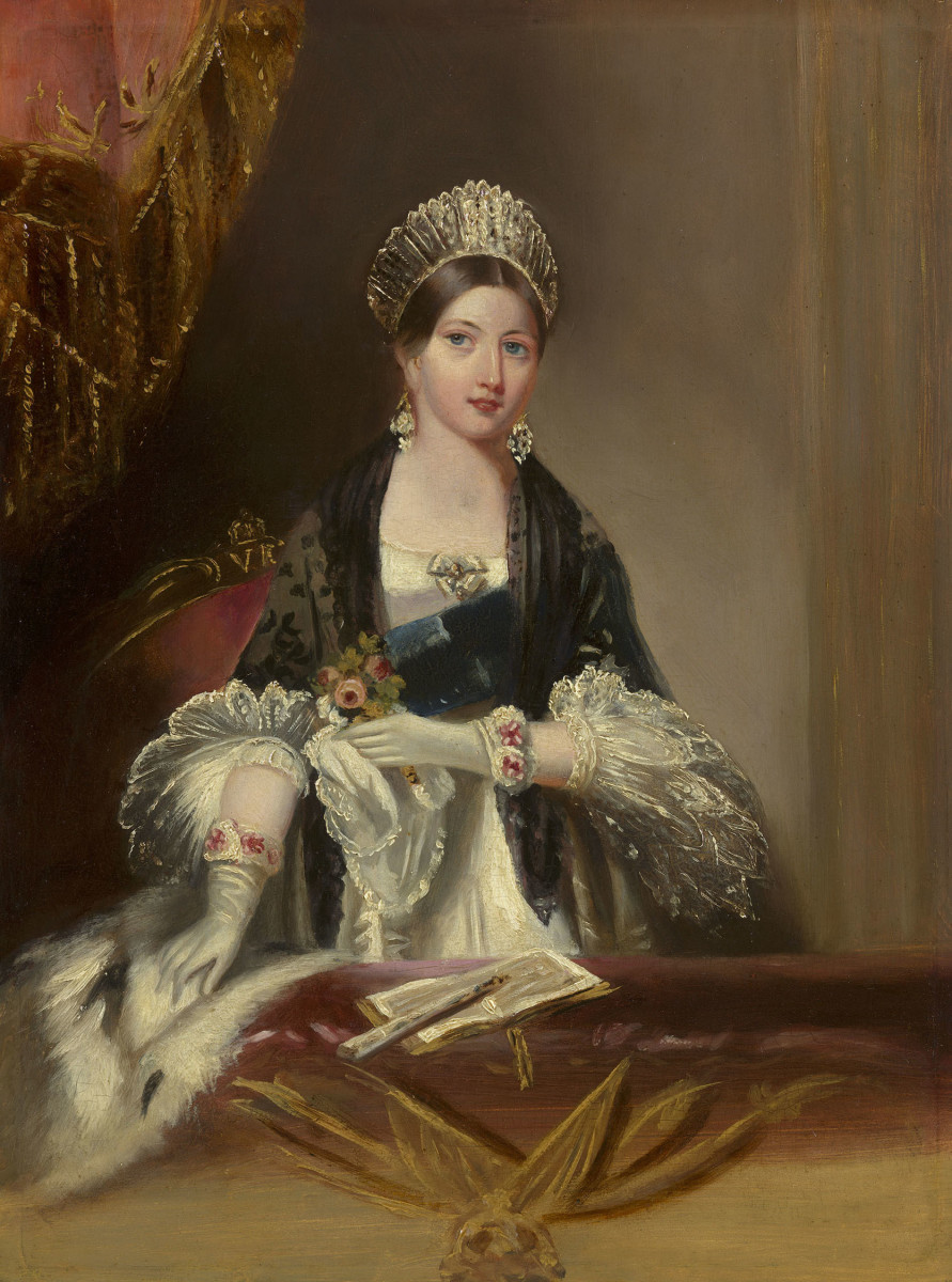 Queen Victoria, who popularized tussie-mussies, is seen carrying one in this oil painting by Edmund Thomas Parris, circa 1837, who painted her while she was attending an opera at the Drury Lane Theatre.