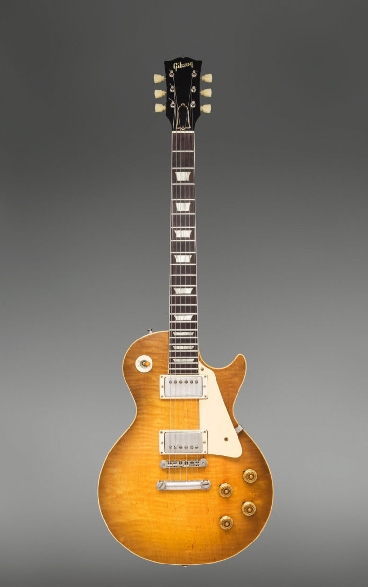This 1959 Gibson Les Paul Standard Sunburst electric guitar was the top lot, selling for $350,000.