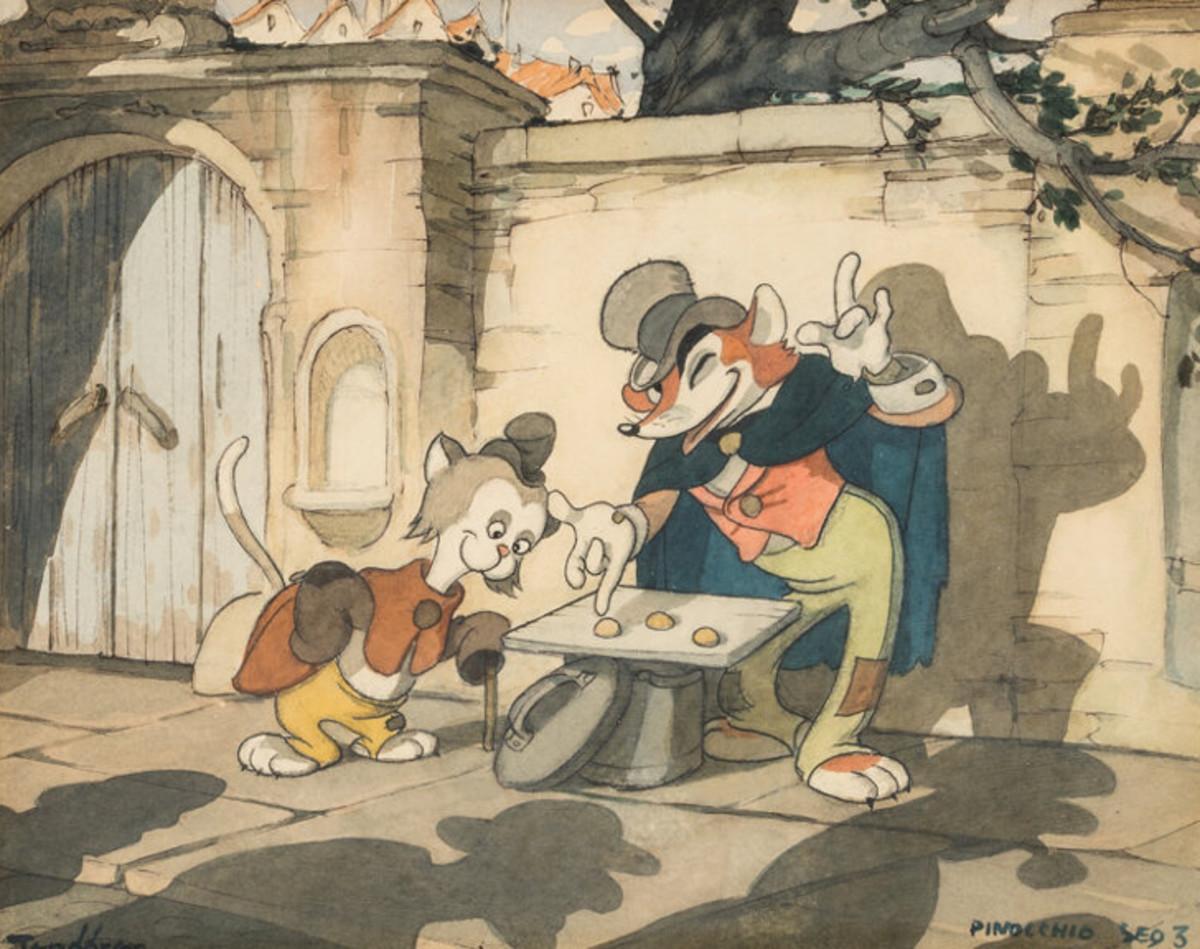 "Gustaf Tenggren's concept painting for ""Pinocchio"" (Walt Disney, 1940) has a pre-sale estimate of $15,000."
