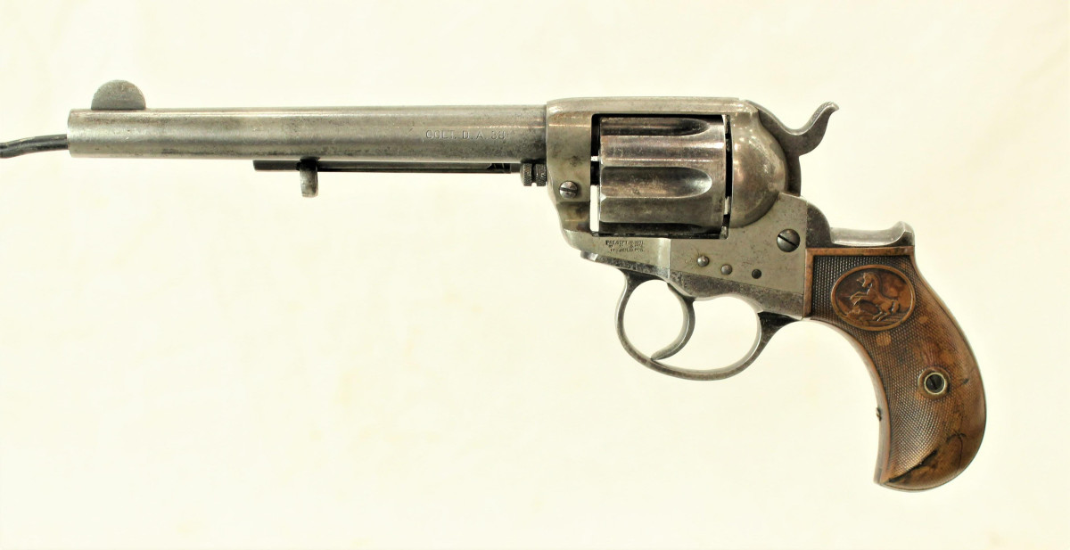 """Another highlight from Mike Olson's estate is this historical Colt 1877 .38-caliber Lightning revolver inscribed on the backstrap for ruthless outlaw and gang leader R.W. """"Bert"""" Casey of El Reno, O.T. (Oklahoma Territory). Estimate: $3,000-$5,000."""