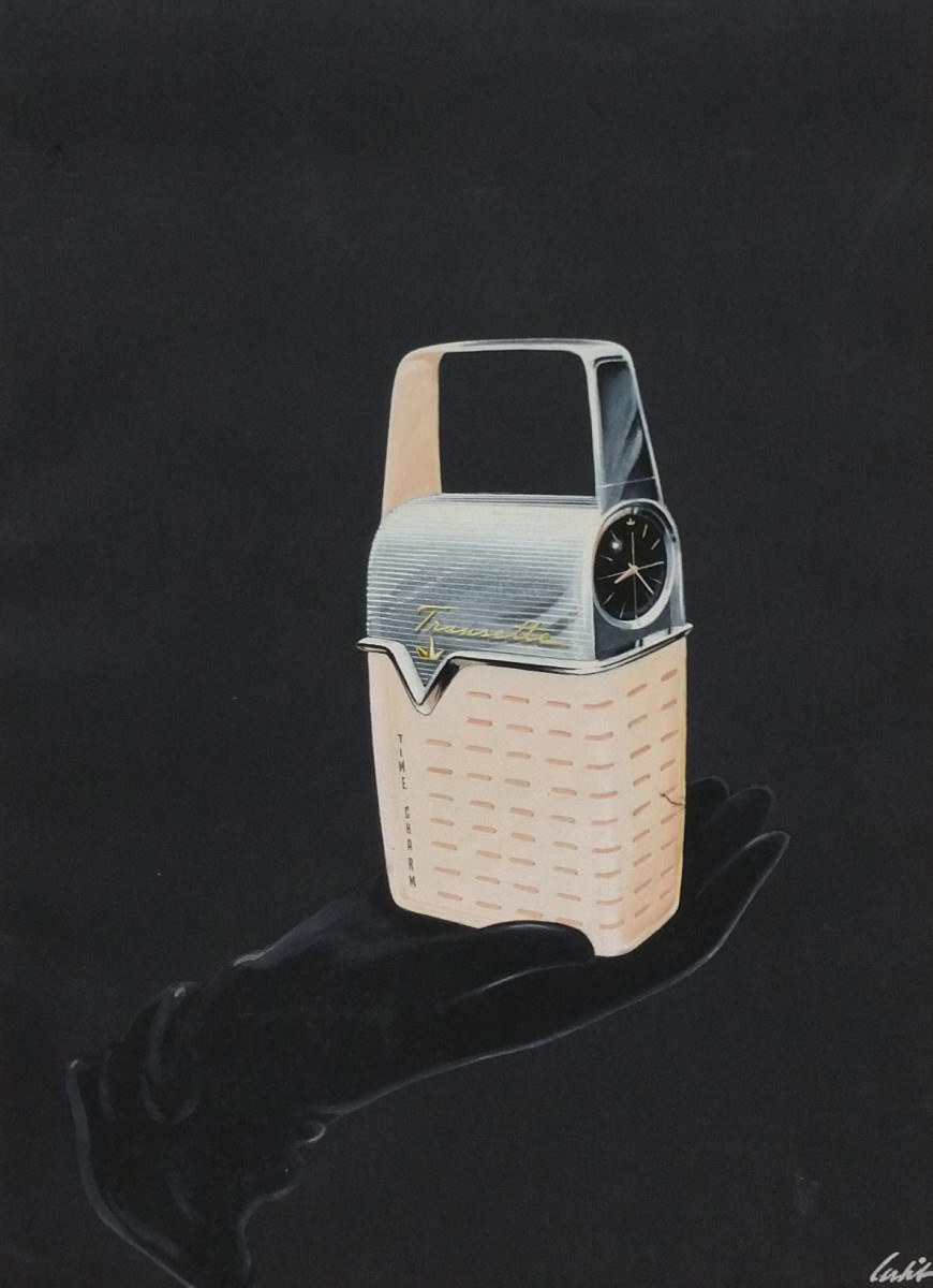 Rare large-format original Richard Arbib Transistor Radio Watch painting, 1955, signed. This is from the Jeffrey Hess Collection and was purchased directly from Arbib; estimate: $1,000-$2,000.
