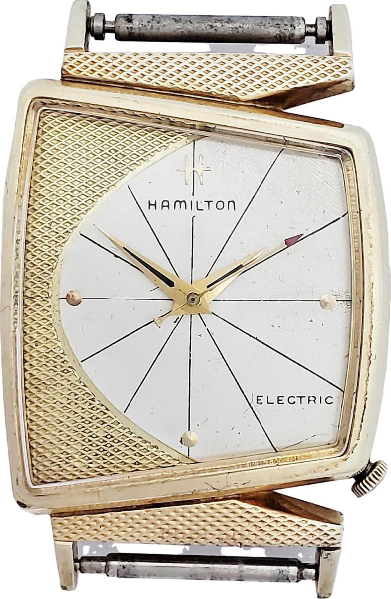 Rare gold-filled  Hamilton Electric Vega  wrist watch designed  by Richard Arbib;  estimate: $600-$800.