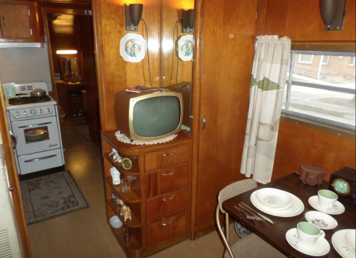 Restored by Tim Heintz, the inside of a 1950 Spartanette Tandem 30-footer is a wonderful time capsule featuring authentic pieces and incredible detail