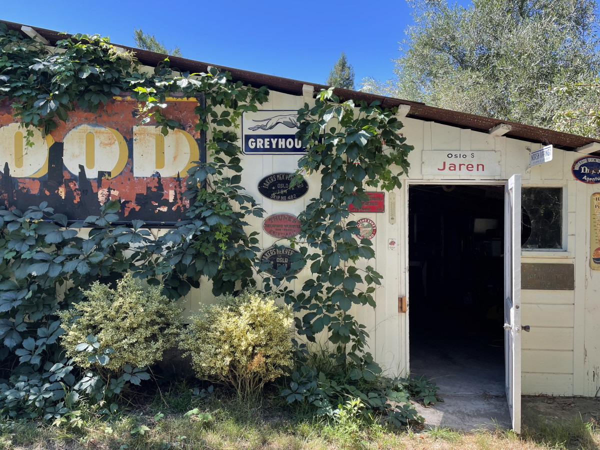 Many finds from the trip came directly from people's homes and sheds, like this building in Napa Valley, California.