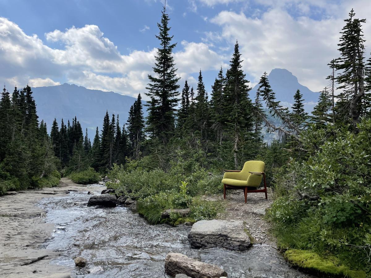 A Finn Juhl NV-53 chair photographed in  Glacier National Park, Montana.