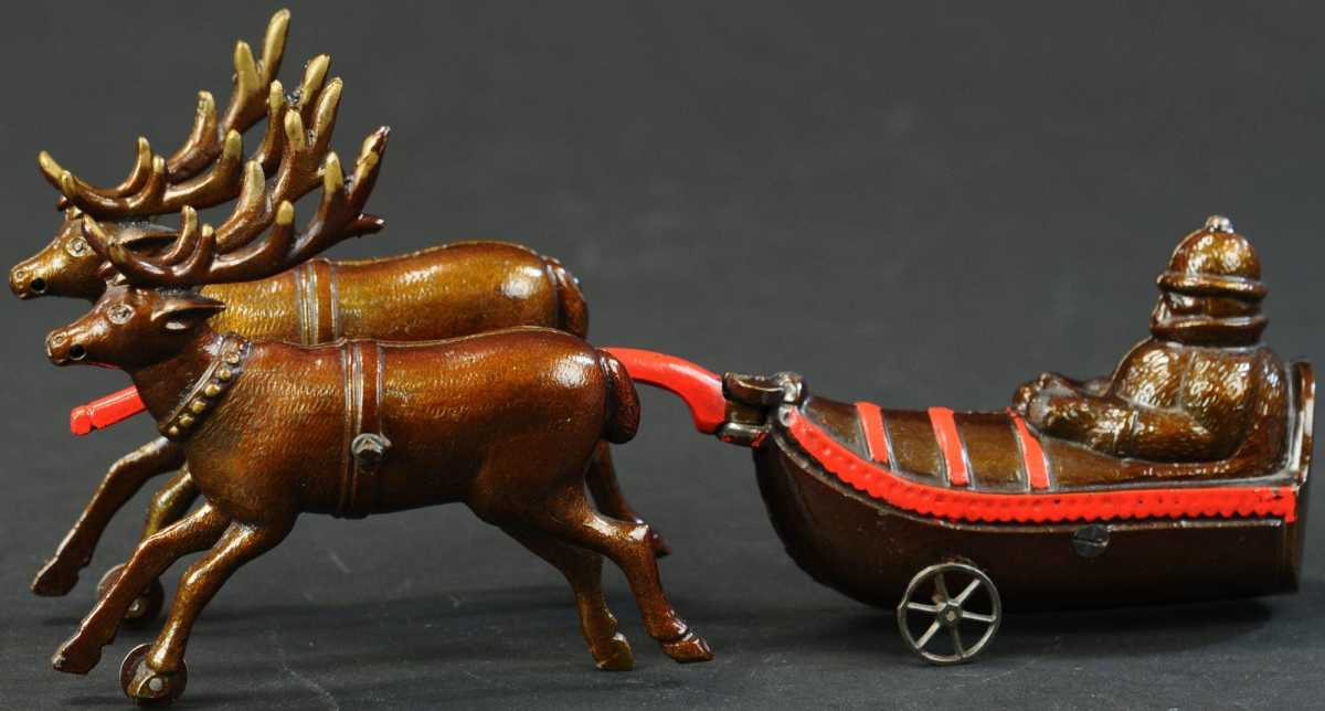 """Ives cast-iron Sledge with Reindeer, unused condition and believed to be the only known example, 12"""" l. Estimate: $10,000-$15,000."""
