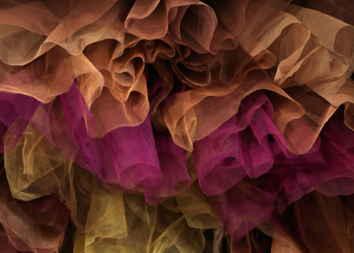 The yellow, purple, light brown, and brown nylon tulle layered underneath the gown.