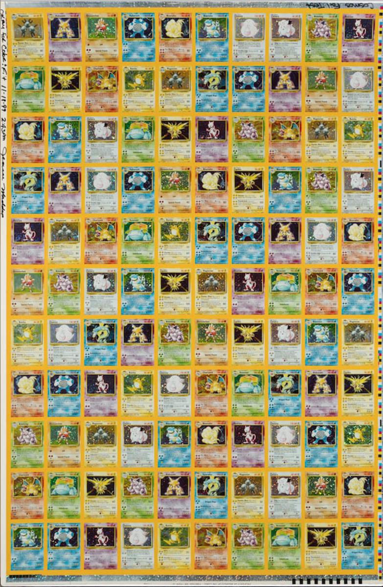A Pokémon uncut Unlimited Base Set proof sheet