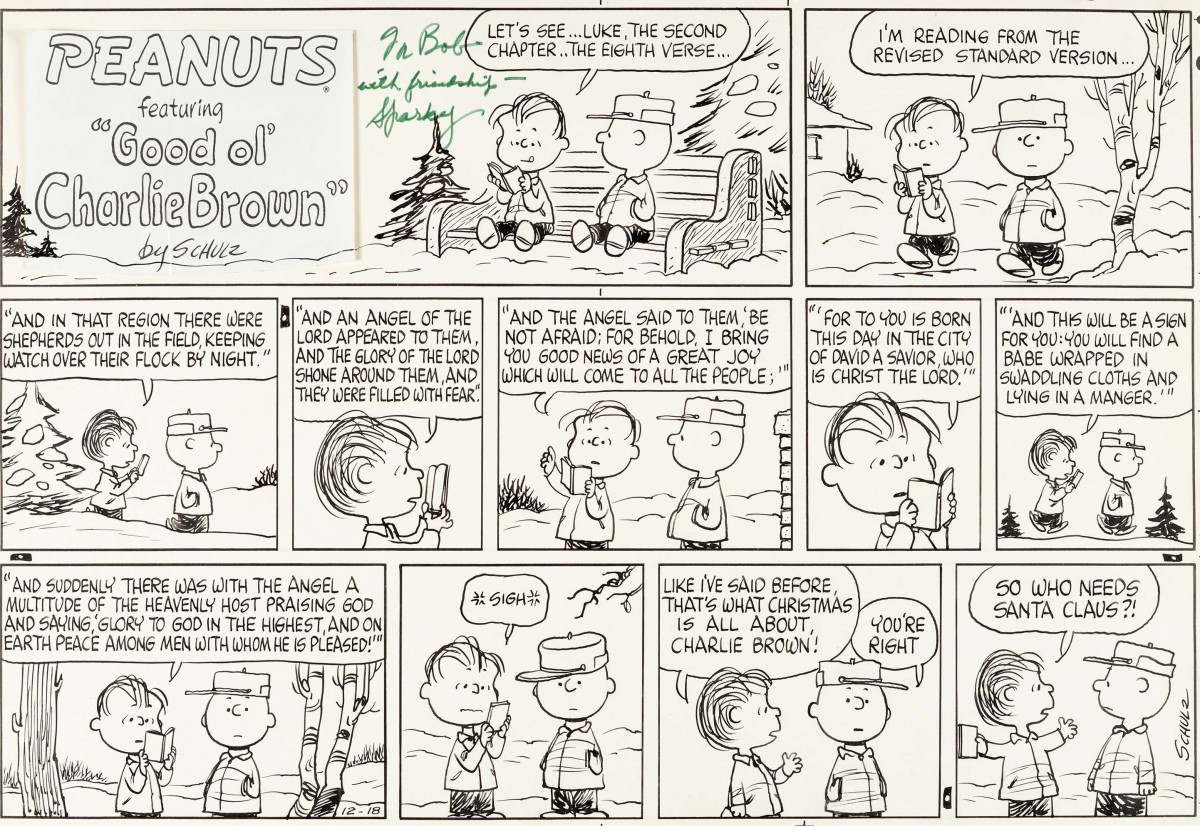 This Peanuts Sunday comic strip from December 1966 sold for a record $360,000.