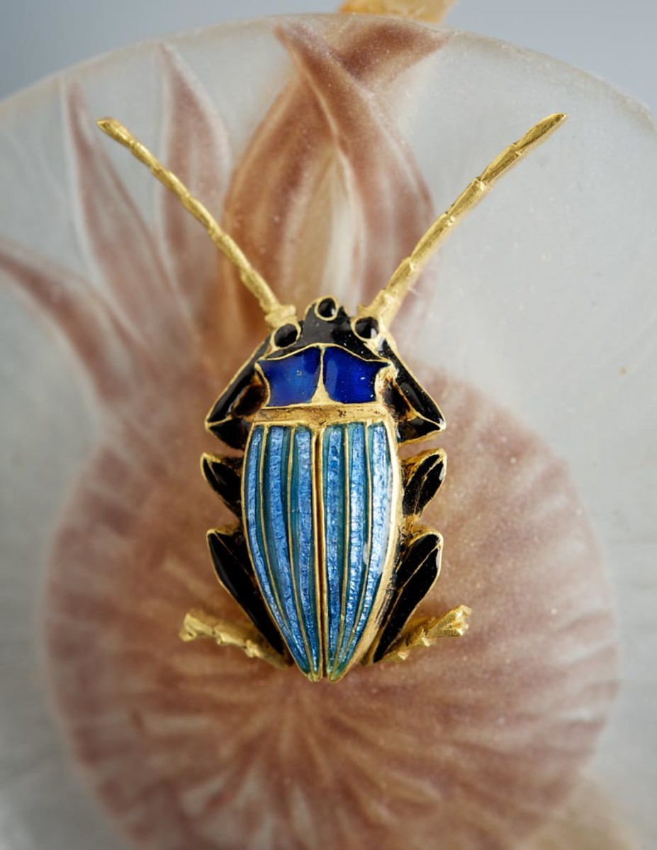 Close-up details of the golden insect.