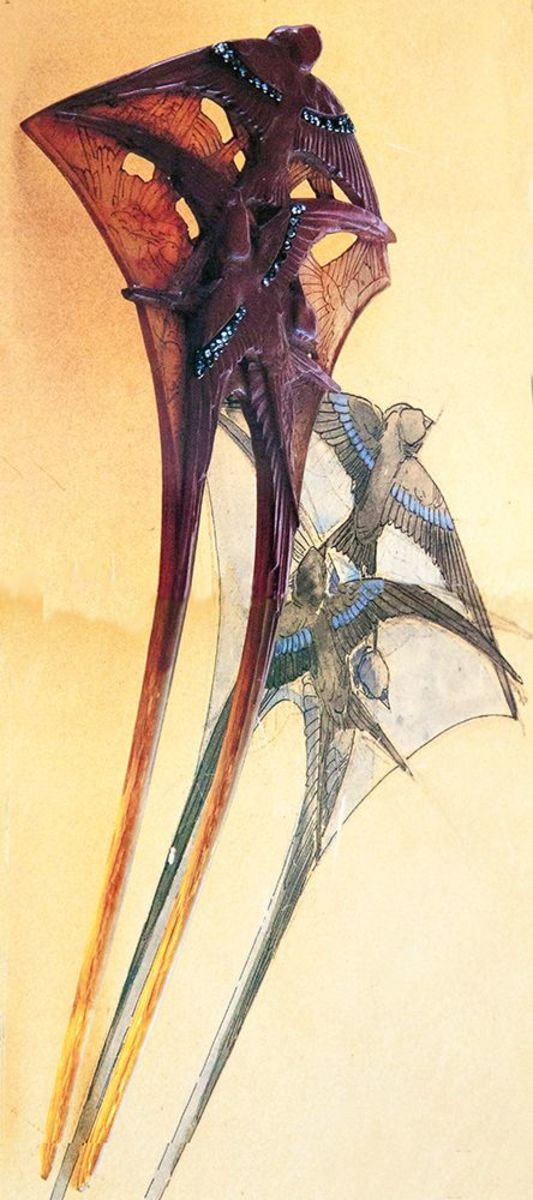 Another swallows' hair comb by Lalique that he crafted from one piece of horn in two different shades, circa 1902, depicts three painted swallows with diamond-adorned wings. It's shown with his original sketch.